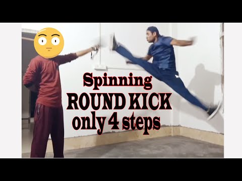 How to do a spinning round kick tutorial in hindi