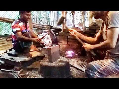 Blacksmithing Art-Chopper sharpening process of old chopper metal forging process
