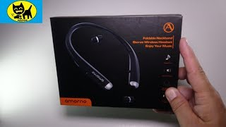 AMORNO Bluetooth Headphones, Foldable Wireless Neckband Headset with Retractable Earbuds