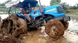 Sonalika tractor stuck in mud # tractor puddling rice farming