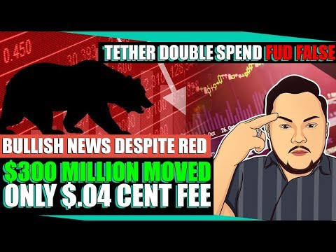 Crypto Market Analysis Today 6/28/18 FALSE Tether Double Spend, $300M Moved for $.04 cents, Red Day