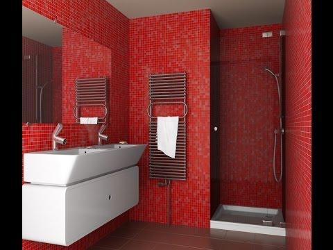 Красный цвет в ванной.  Энергичный и  яркий
