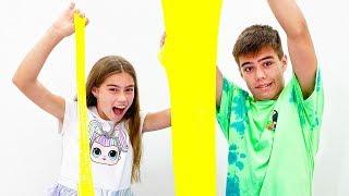 Nastya and Artem make a giant slime