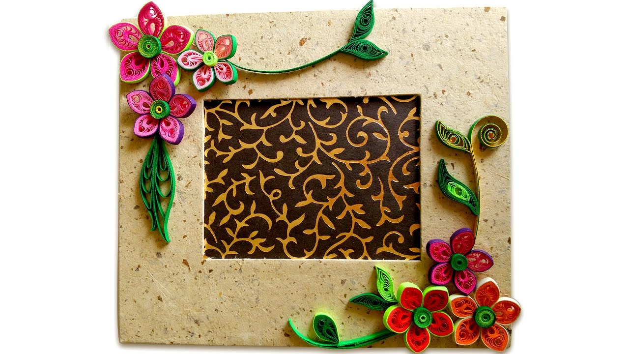 How to make beautiful quilling photo frame easy craft for Handicraft from waste things