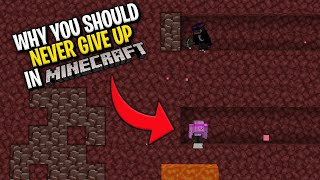 Why you should NEVER GIVE UP in Minecraft... #shorts
