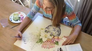 Kelly Higgs Painting Protea and Lilies