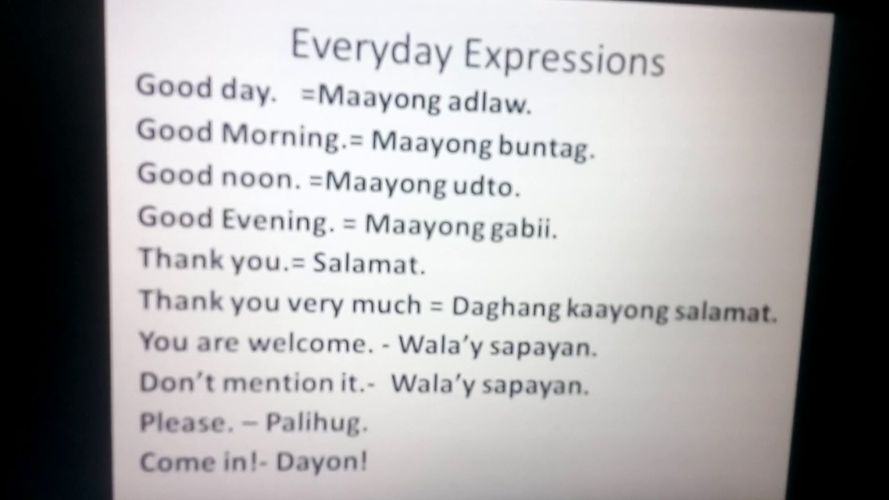 Everyday Expressions In Bisaya To English Youtube