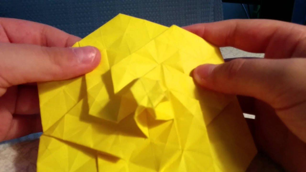 Origami Hexagonal Twist Spiral Star Tower Golden Fire Origami
