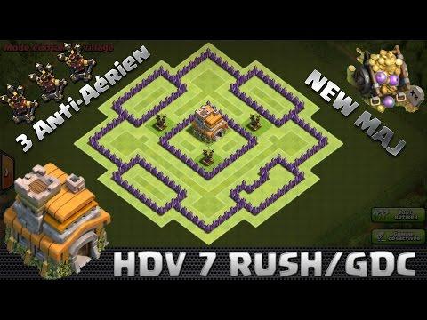 Clash Of Clans, Village HDV 7 Rush/GDC, New Maj ! 3 anti-aérien ! 2016, speedbuilding.
