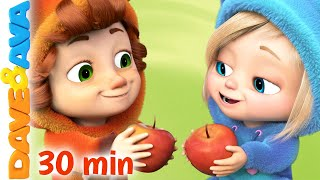 🍎 Five Apples in the Apple Tree and More Nursery Rhymes | Kids Songs by Dave and Ava 🍎
