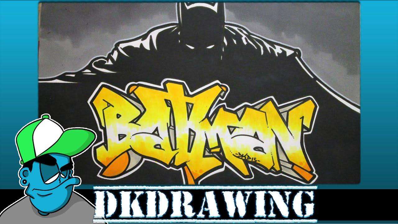 Drawing Batman Graffiti Letters & Batman Stencil