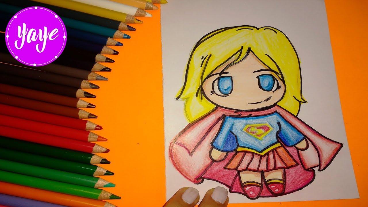 Como Dibujar Y Colorear Super Chica Kawaii Drawing And Coloring Super Girl Kawaii For Kidsyaye