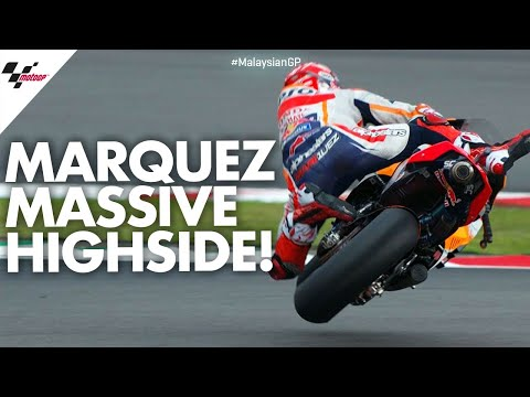 HUGE highside for Marc Márquez!   2019 #MalaysianGP