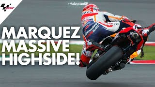 HUGE highside for Marc Márquez! | 2019 #MalaysianGP