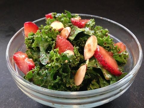 Strawberry Kale Salad Recipe HASfit Kale Recipes Kale Salad Recipes Kale Recipe