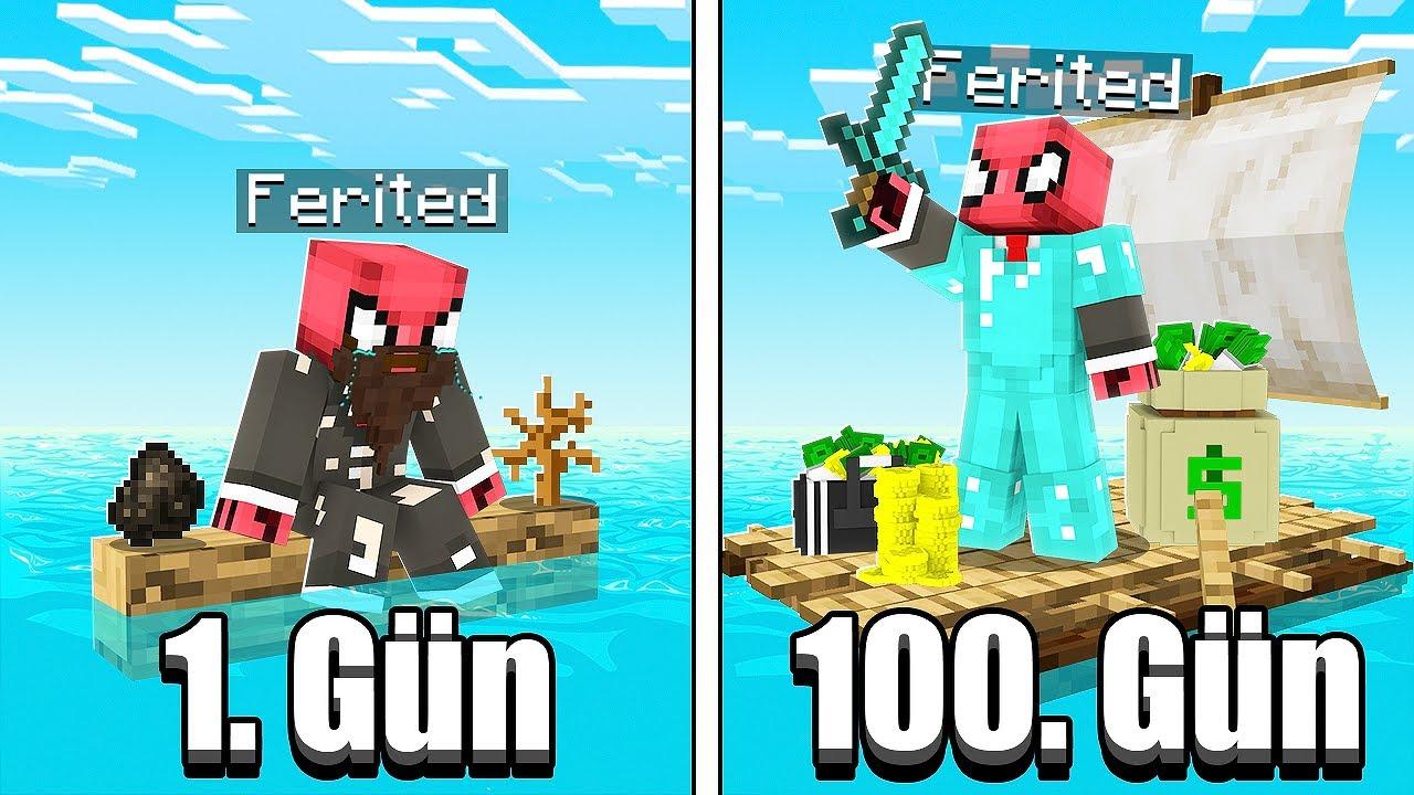 100 GÜN DENİZDE HAYATTA KALMAK 🌊 - Minecraft