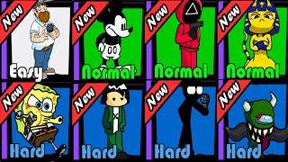 Friday Night Funkin Squid Game,Plants Vs Zombie,Micky Mouse,Bikini Bottom,Ankha,Stickman,Impostor