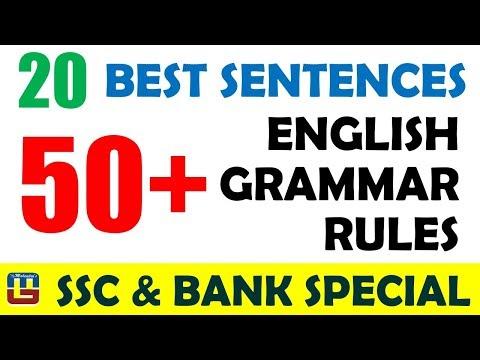 20 Best Sentences | 50+ Grammar Rules | English | SSC CGL Mains/ Bank Exam  2017