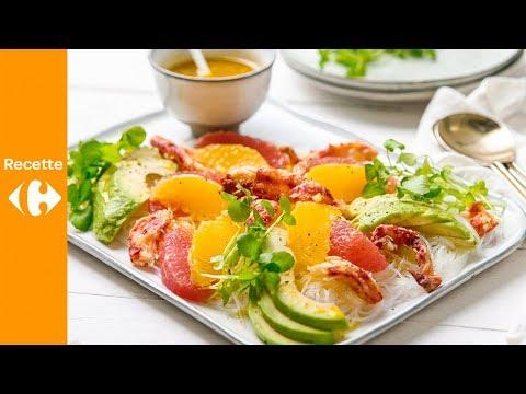 salade-d'agrumes-au-crabe,-avocat,-nouilles-de-riz-et-vinaigrette-au-curcuma