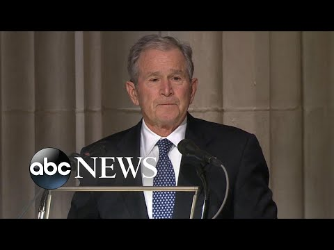At Bushs funeral, an emotional George W. Bush pays tribute to his father