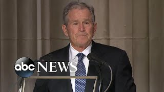 At Bush's funeral, an emotional George W. Bush pays tribute to his father