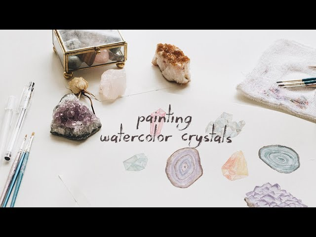 painting watercolor crystals