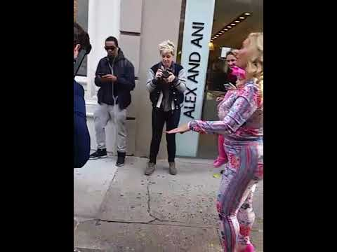 Wife Of Ice T, Coco With Daughter Chanel Walking Down W Broadway N.Y. With Man Vacuuming The Street