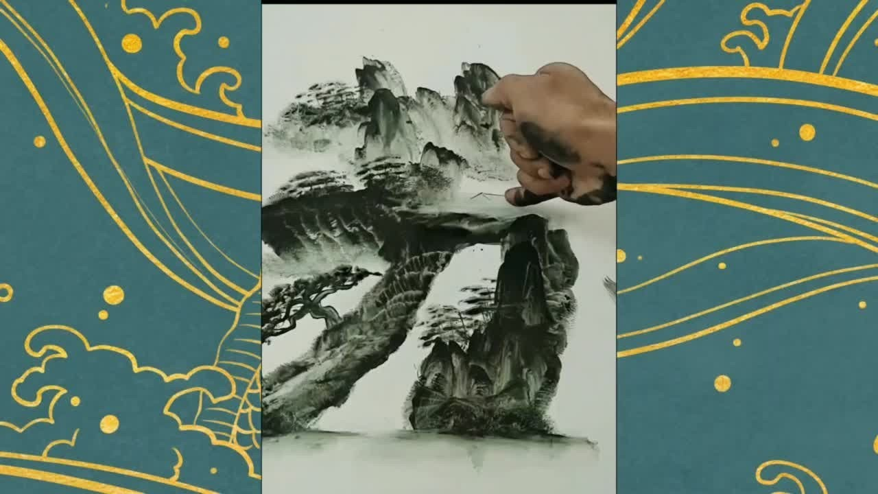 指掌畫山水 行家出手國畫意境盡收眼底 獨創的繪畫技巧 太神奇了traditional Chinese painting