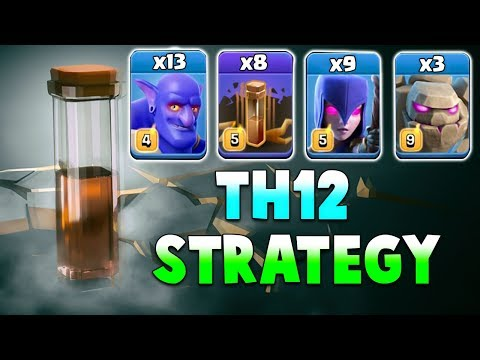 TH12 Attack Strategy 2019! 13 Bowler + 9 Earthquake Spell + 9 Witch + 3 Golem 3 Star Max TH12 Base