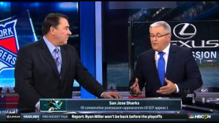 mike milbury says that the sharks should send joe thornton to the ahl full intermission report