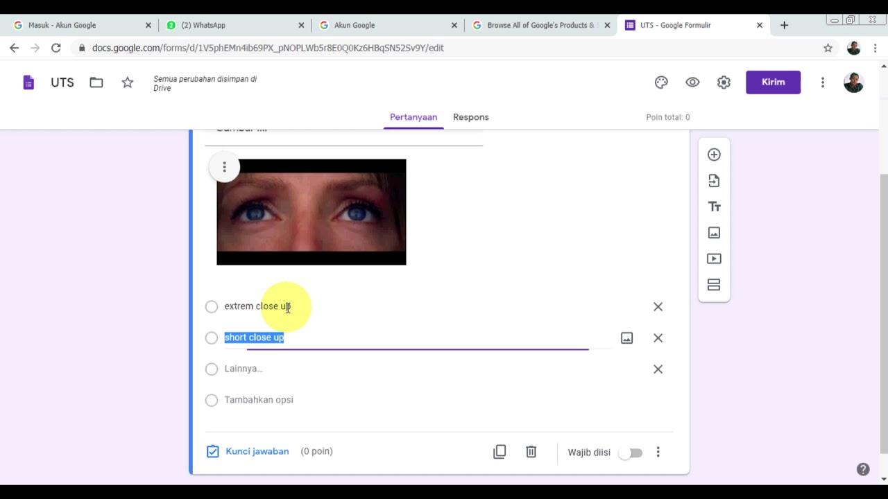 cara membuat soal pilihan ganda dengan google form - YouTube