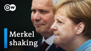There are renewed fears for the health of german chancellor angela merkel after she was seen shaking again. it's third time in past month that merkel...