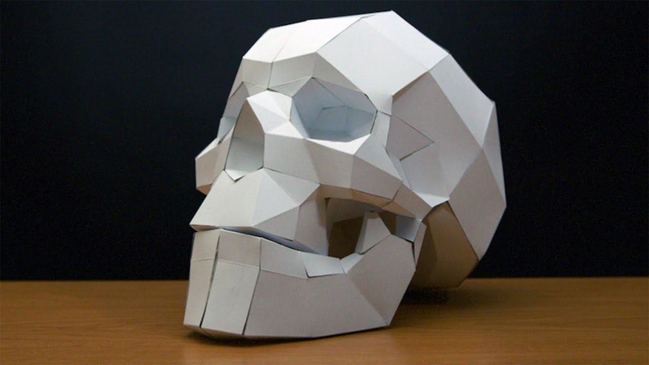 papercraft skull timelapse youtube