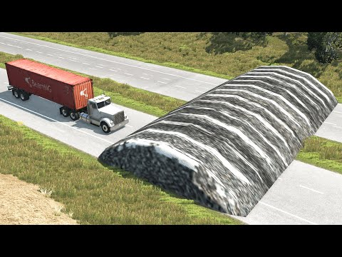 Cars vs Giant Speed Bump – BeamNG.Drive