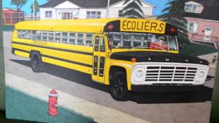 Original 1977 Ford School Bus Drawing Art By ELton McFall