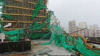【颱風山竹】大角咀尚璽地盤塌天秤 壓向舊樓天台 40人疏散