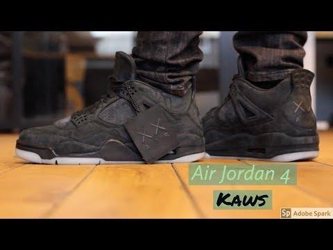 deb7d4e8589 Air Jordan 4 Kaws Black Review + On Feet - YouTube