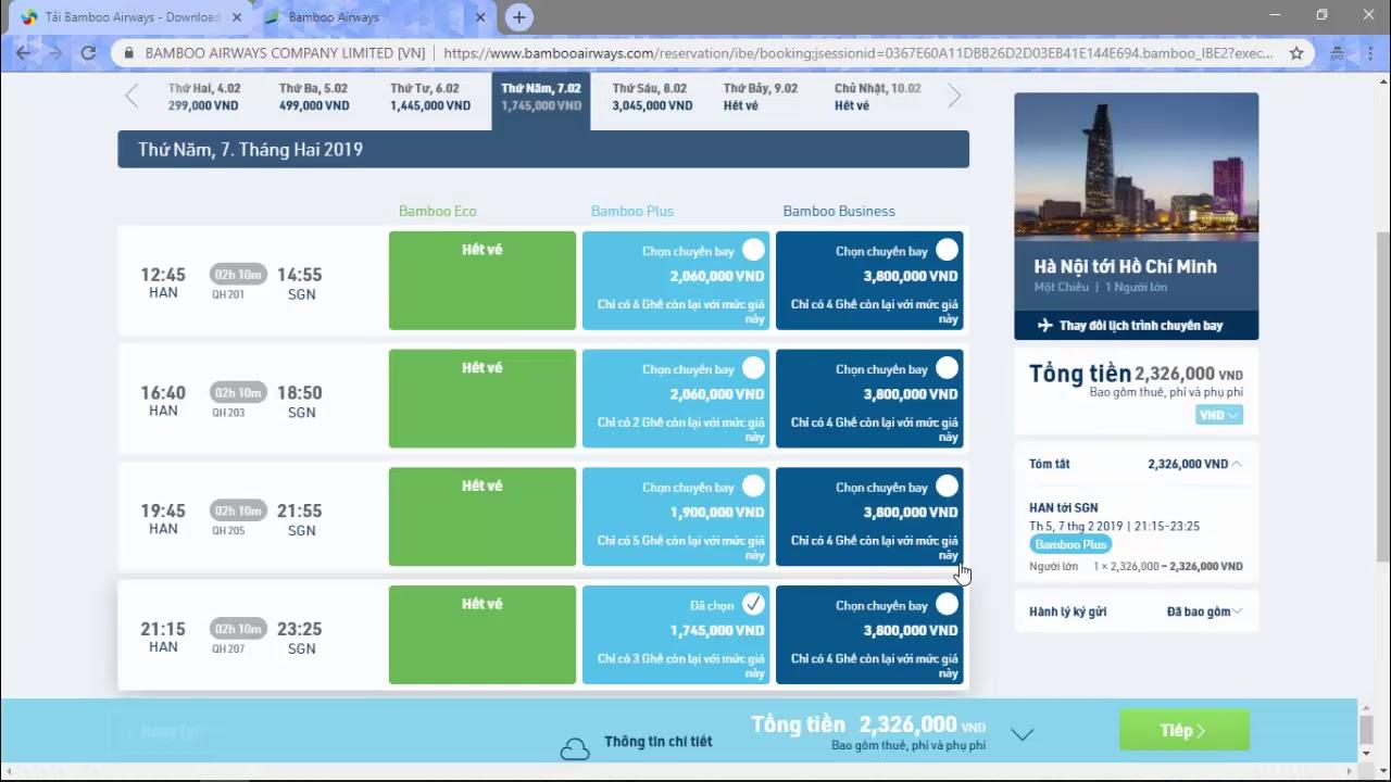 Hướng dẫn đặt vé máy bay giá rẻ của Bamboo Airways