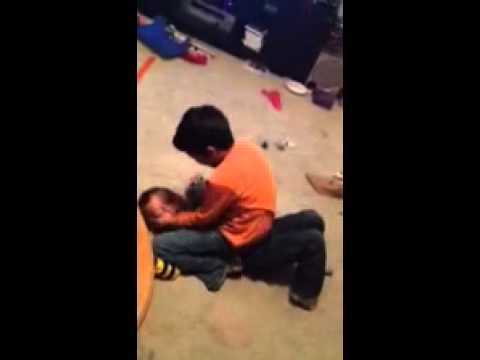 8 year old gets beat by 4 year old he pees himself - YouTube