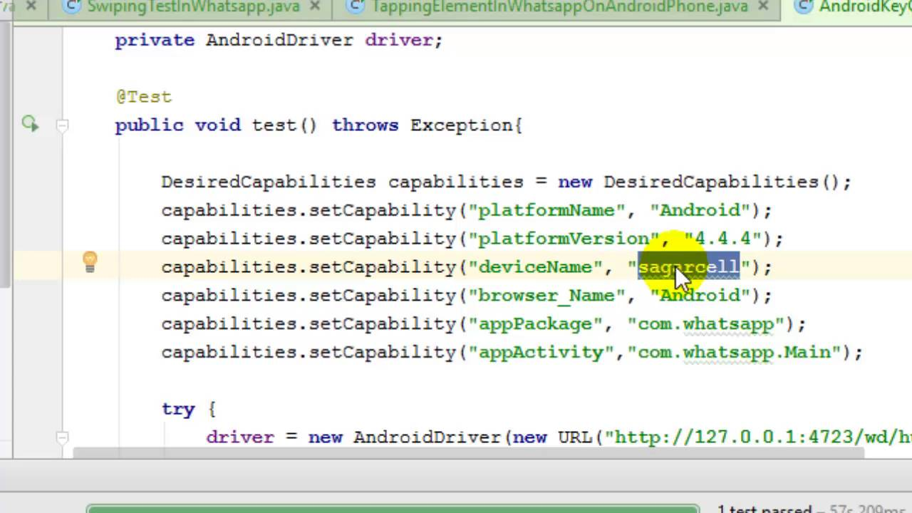 Desired capabilities for Native Android automation in Appium