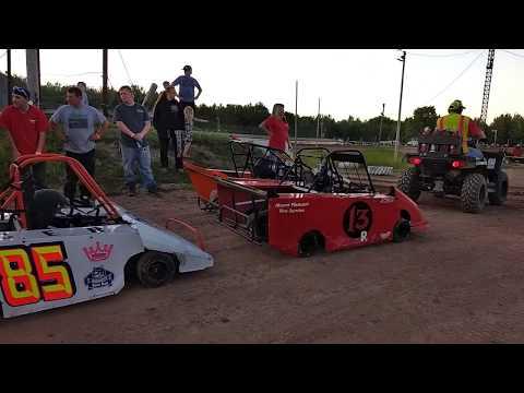 Thunderbird Raceway- Dirt track racing 06-23-18. Rookie crash footage