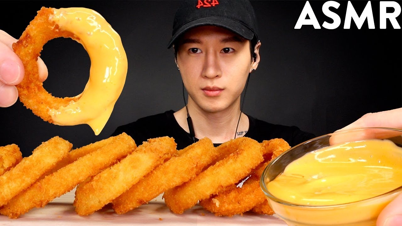 Asmr Cheesy Onion Rings Mukbang No Talking Eating Sounds Zach Choi Asmr