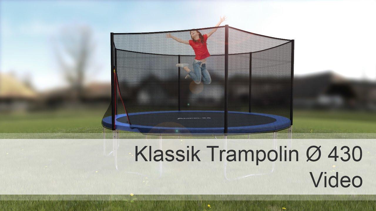 ampel 24 klassik trampolin 430 cm mit netz youtube. Black Bedroom Furniture Sets. Home Design Ideas