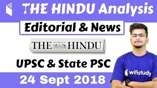9:00 AM - The Hindu Editorial News Analysis  24 Sept 2018 [UPSC/State PSC] by Manvendra Sir