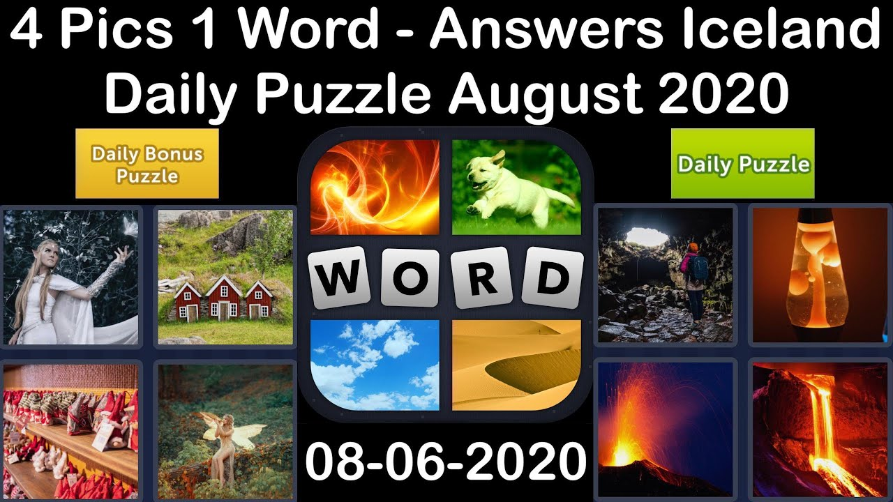 4 Pics 1 Word - Iceland - 06 August 2020 - Daily Puzzle + Daily Bonus Puzzle - Answer - Walkthrough