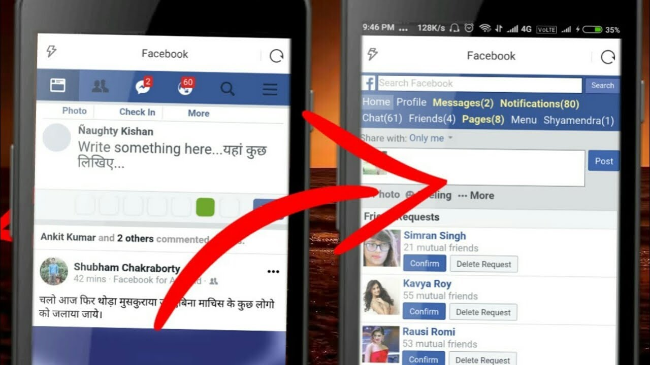 How to change new version to old version facebook in