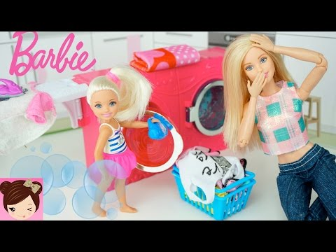 Chelsea Makes a Huge Mess with Barbies Toy Washing Machine  - Stories with Dolls