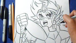Como desenhar Saint Seiya de Pegasus - Cavaleiros do Zodíaco