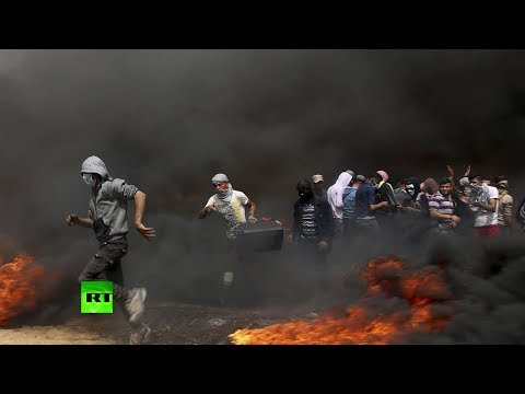 Protesta palestina en la frontera entre Gaza y Israel