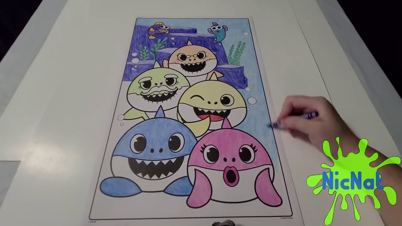 COLOR WITH ME: BABY SHARK PICTURE WITH CRAYONS - YouTube